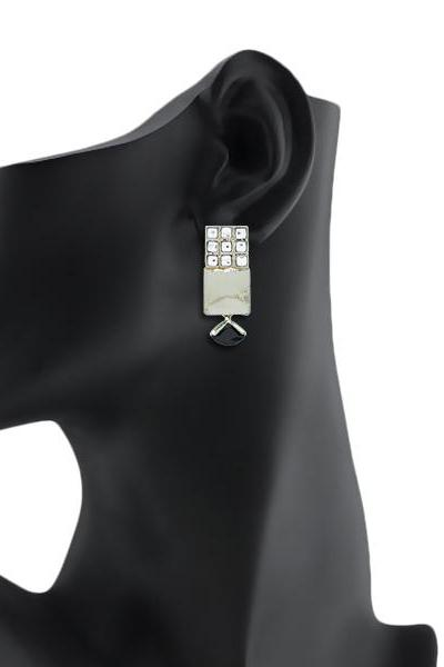 Bo'Bell Fusion Cubic Unique Ethnic Earring/BLACK