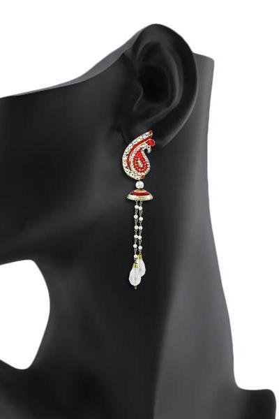 Bo'Bell Elegant Bollywood Mor Meenakari Designer Earring/RED
