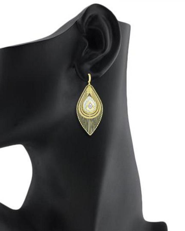 Bo'Bell Elegant Petal Classic Designer Danglers/WHITE