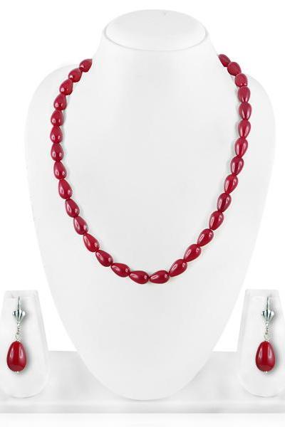 Bo'Bell Sweet 'n' Simple Maroon Fashion Beaded Necklace Set/MAROON
