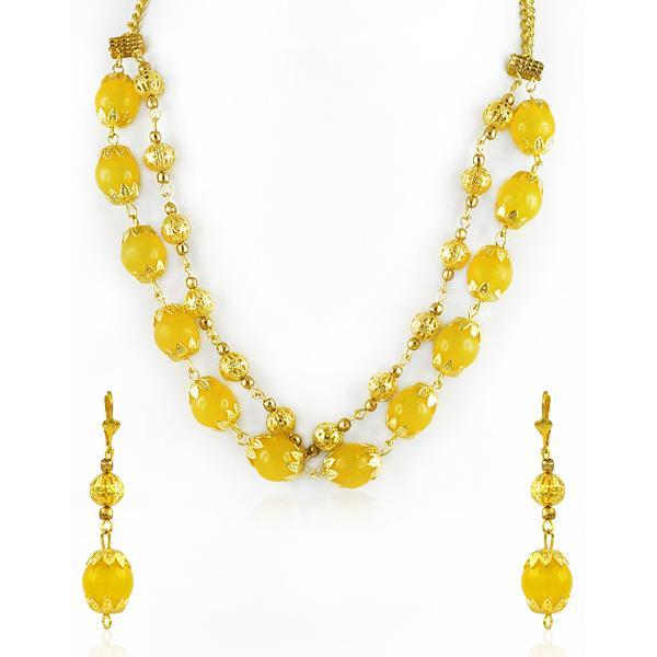 Bo'Bell Fashion Lemon Yellow Flirty Ethnic Necklace Set/YELLOW