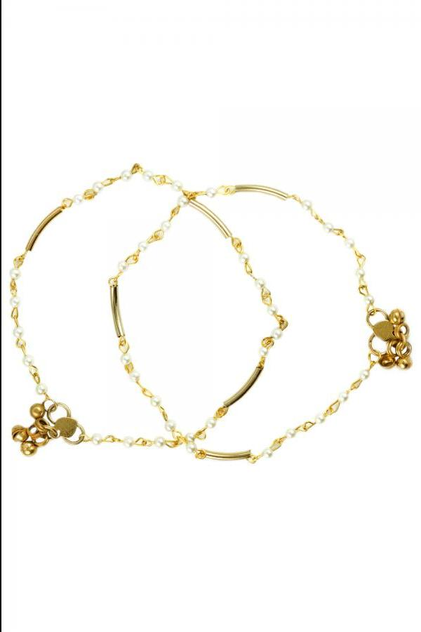 Bo'Bell Delicate Golden Pearl Charm Ankl....