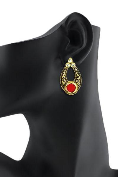 Bo'Bell Indian Versatile Carved Designer Earring/ORANGE