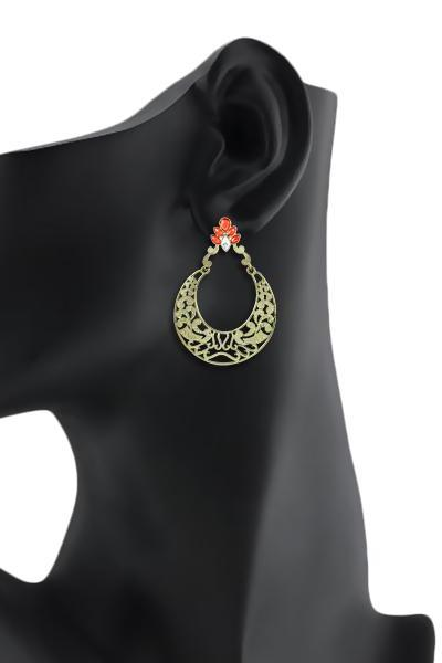 Bo'Bell Antique Bollywood Jhumar Traditional Earring/ORANGE