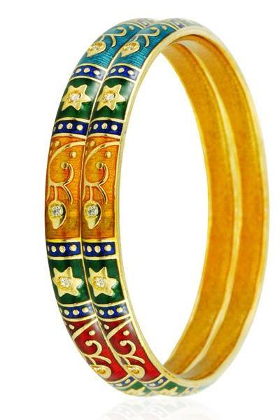 Bo'Bell Maharani Meenakari Traditional Bangle Set/MULTI