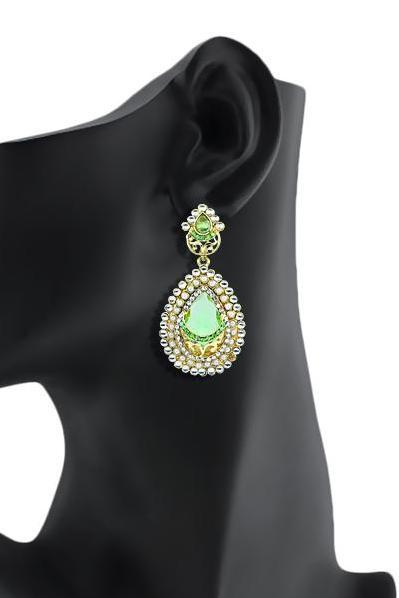Bo'Bell Bolly Indy Teardrop Polki Designer Earring/GREEN