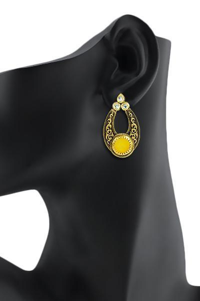 Bo'Bell Indian Versatile Carved Designer Earring/YELLOW