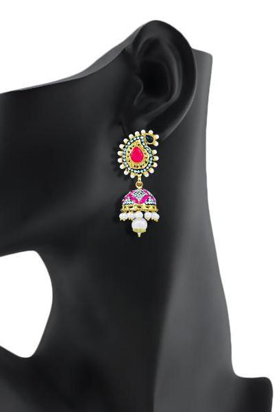 Bo'Bell Glamorous  Meenakari Bolly Earring/PINK