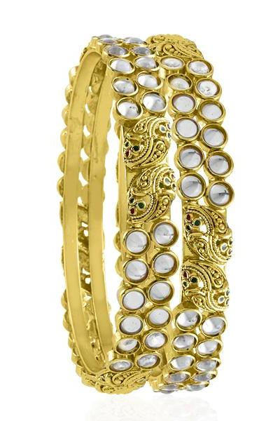 Bo'Bell Elegant Maharani Kundan Mor Bangle Set/GOLDEN
