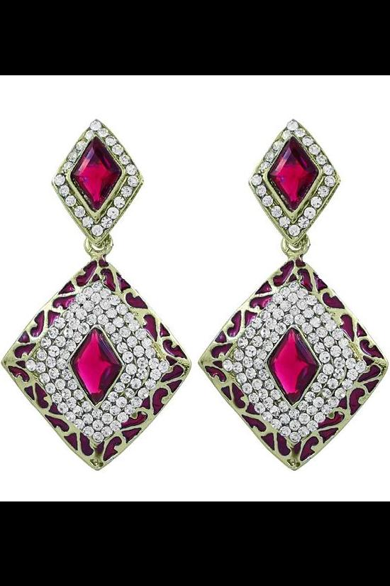 Light up your look with this kite shaped meenakari (enamel work) designer earring/RED