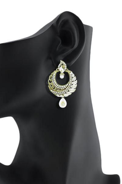 Bo'Bell Exquisite Antique Indian Earring/WHITE