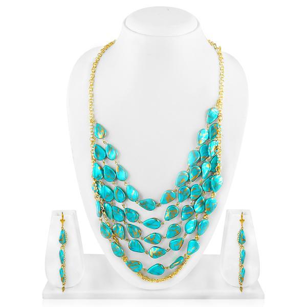 Bo'Bell Aqua Blue Indo-Western Beads Tribal Mixy Necklace Set/AQUABLUE