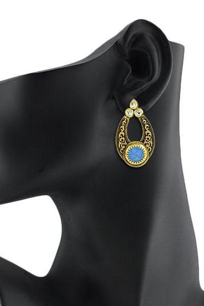 Bo'Bell Indian Versatile Carved Designer Earring/ROYALBLUE