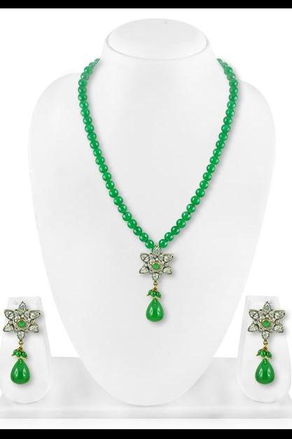 Bo'Bell Glitzy Unique Mix Green Floral Indian Necklace Set/GREEN