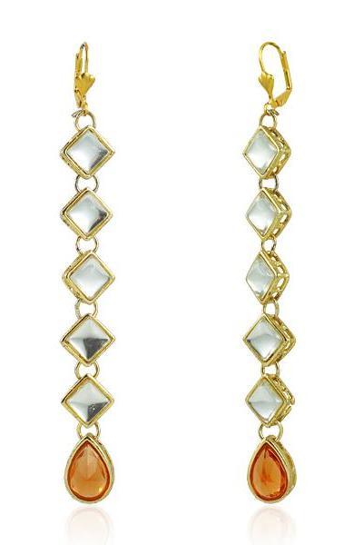 Bo'Bell Fashionable Kundan Designer Earring/CHAMPAGNE
