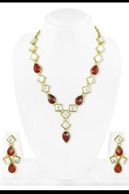 Bo'Bell Ethnic Jaipuri Vindali(Kundan) Simple Bolly Necklace Set/RED