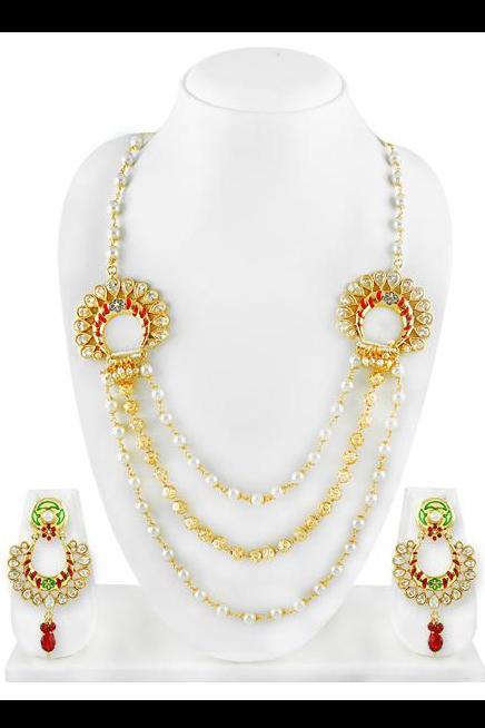 Bo'Bell Elegant Indi Pop Enamel Tri-Strand Stylish Necklace Set/MULTI
