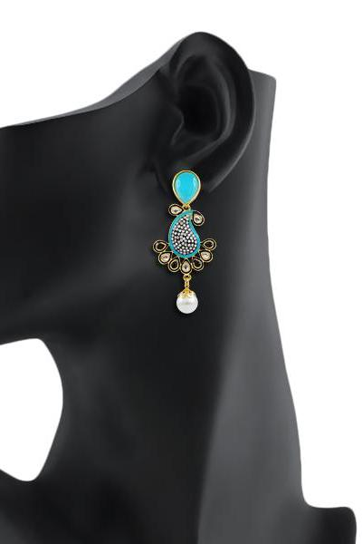 Bo'Bell Exquisite Elegant Keri Designer Earring/AQUABLUE