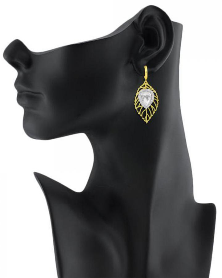 Bo'Bell Adorable Leafy Lazer Cut Designer Earring/WHITE