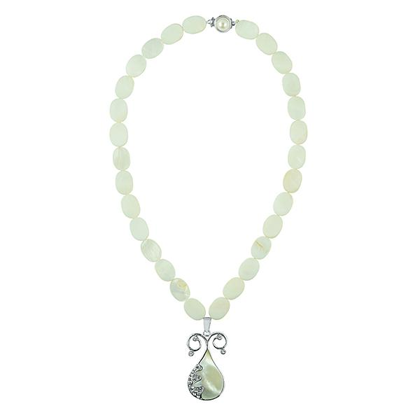 Bo'Bell Queenly MOP Shiny White Abalony Shell Necklace/WHITE