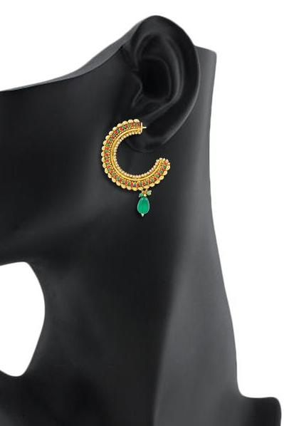 Bo'Bell Flawless Attractive Designer Earring/GREEN