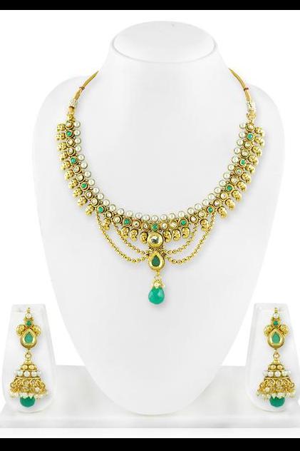 Bo'Bell Traditional Jaipuri Kundan Gold Tonned Necklace set/DARKGREEN