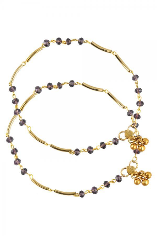 Bo'Bell Delicate Golden Purple Glass beads  Charm Anklet/PURPLE