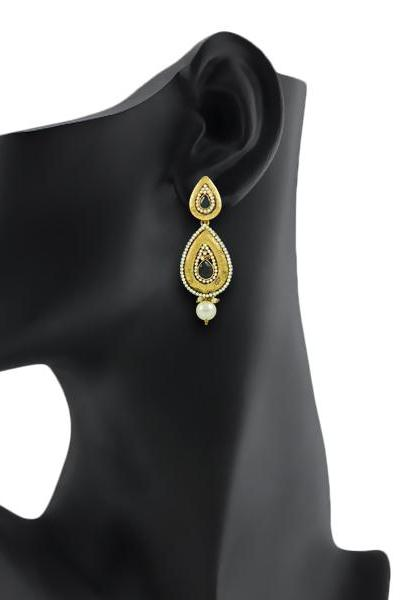 Bo'Bell Charming Indian Traditional Designer Earring/BLACK