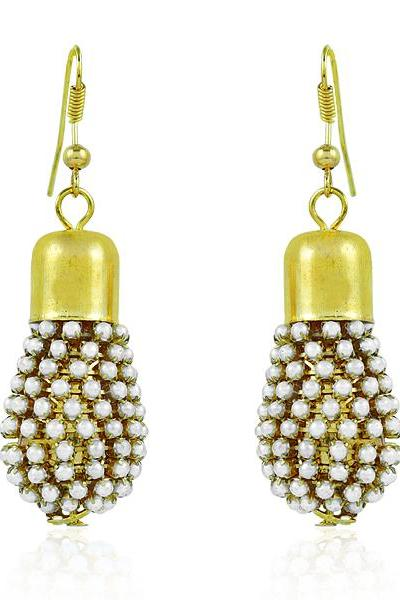 Bo'Bell Funky Fashionable  Indian Traditional Earring/WHITE