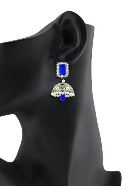 Bo'Bell Exotic Traditonal Bolly Earring/BLUE