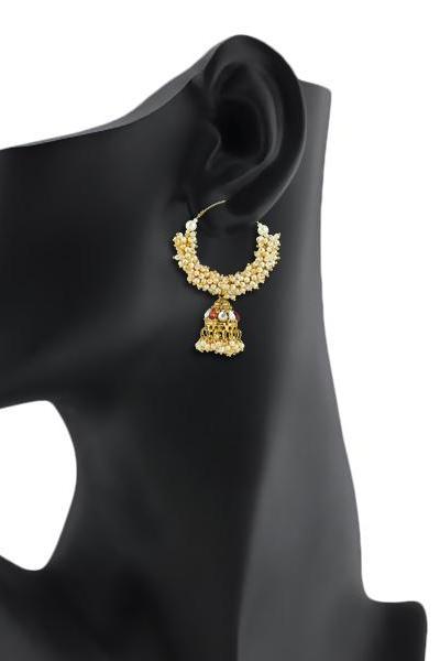 Bo'Bell Ethnic Crunchy Pearl Polki Beads Indy Designer Earring/GOLDEN