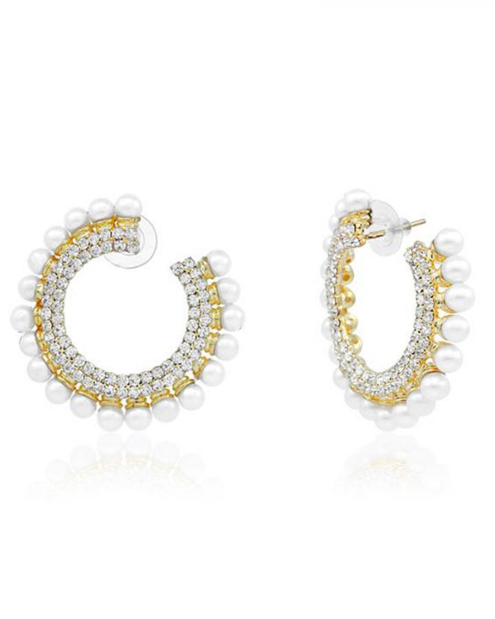 Bo'Bell Elegant Beauty Flirty AD Hoop Earring/WHITE