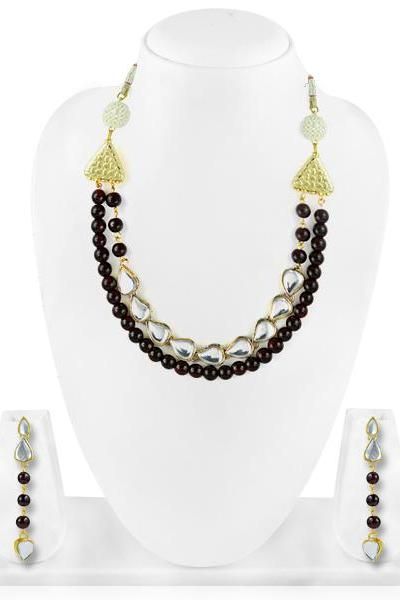 Bo'Bell Mixy Beaded Contemporary Necklace/BROWN