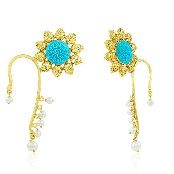 Bo'Bell Stylish Crafted Krishan Pankh Ear Cuff/TURQUOISE