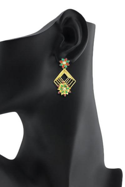Bo'Bell Dainty Polki Traditional Earring/MULTI
