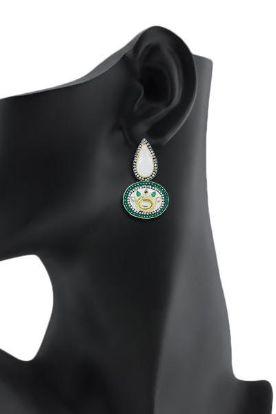 Bo'Bell Exquisite Maharani Traditional Earring/WHITE