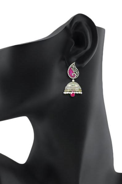 Bo'Bell Flawless Bollywood Enamel Kerri Indian Earring/PINK