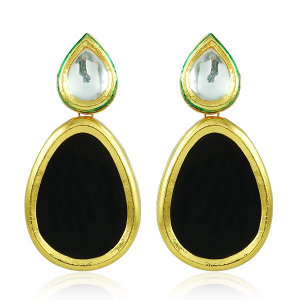 Bo'Bell Indian Bold Boondh Sheet Earring/BLACK