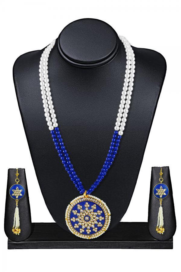 Indian Ethnic Artisanal Traditional Meenakari Fusion Necklace Set/BLUE